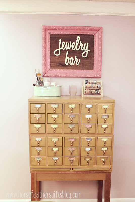vintage card catalog jewelry storage